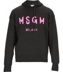 msgm brush stroked logo hoodie
