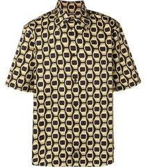 roberto cavalli watch print button-up shirt - black
