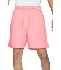 men's nike jumpman poolside hybrid drawstring shorts, size medium - pink
