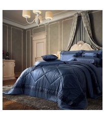 cobre leito cetim 400 fios queen plumasul 3 peças chateau versailles