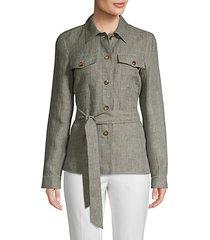 linen button front jacket