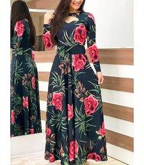 vestido de manga larga plisado con estampado floral negro