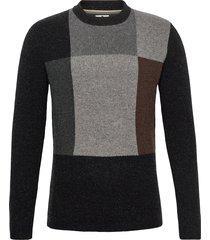akagosto knit stickad tröja m. rund krage svart anerkjendt