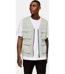 mens green sage four pocket vest
