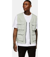 mens green sage four pocket vest
