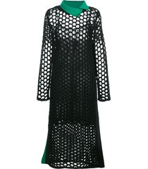 3.1 phillip lim ls chunky open knit maxi dress - black