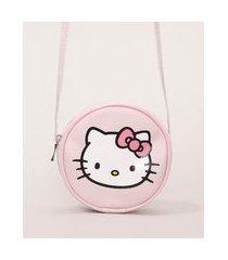 bolsa infantil redonda hello kitty rosa
