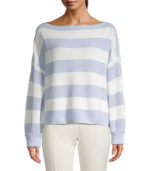 french connection women's millie mozart stripe sweater - crystal clear - size m