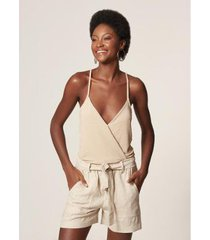 body mob transpassado regata lurex cream feminino - feminino