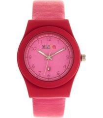crayo unisex dazzle pink genuine leather strap watch 37mm