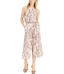 vince camuto snake-embossed cropped jumpsuit