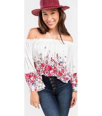 anessa floral off the shoulder blouse - white