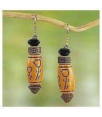 beaded dangle earrings, 'tulip love' (ghana)