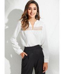 blusa de gasa con cuello en v y patchwork de encaje blanco yoins