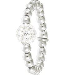 anello elastico in argento 925 rodiato e cristalli bianchi per donna