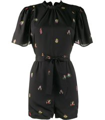 alexa chung cloud print playsuit - black
