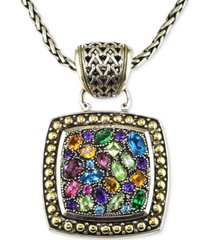 balissima by effy multistone square pendant in sterling silver and 18k gold