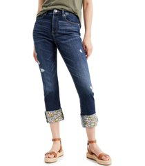 inc embroidered-cuff cropped jeans, created for macy's