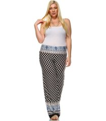 white mark plus size printed palazzo pants