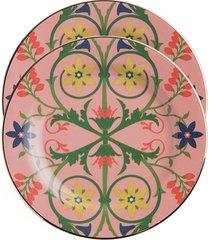 la doublej conjunto de pratos de sobremesa stella alpina - rosa