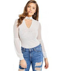 blusa niki ring mock nk top blanco guess