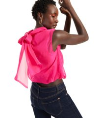 inc cotton tie-neck organza top, created for macy's