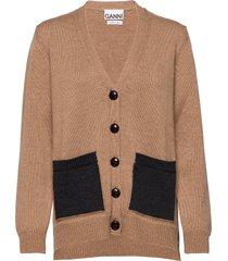 wool knit gebreide trui cardigan beige ganni