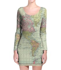 antique world map 1913 longsleeve bodycon dress