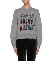 denver' sequin embellished slogan sweater