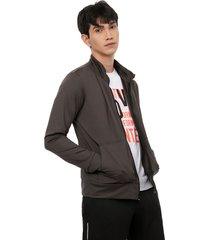 chaqueta sport colsillo canguro color gris, talla m
