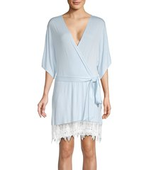 splendid women's lace-trimmed robe - dreamy blue - size m