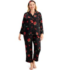inc plus size satin pajama & headband 3pc set, created for macy's