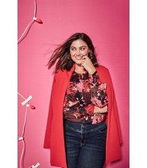 lane bryant women's textured ponte longline jacket 16p racing red