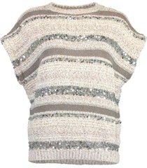 cap sleeve stripe paillette pullover