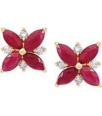 certified ruby (1-5/8 ct. t.w.) & diamond (1/8 ct. t.w.) flower stud earrings in 14k gold