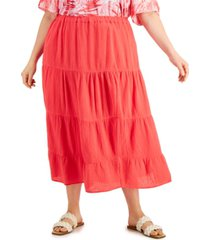 calvin klein plus size solid tiered pull-on skirt