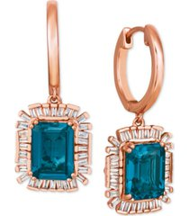 le vian baguette frenzy london blue topaz (3-1/2 ct. t.w.) & diamond (1/4 ct. t.w.) drop earrings in 14k rose gold