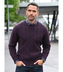trui met ronde hals en kabelmotief van louis sayn paars