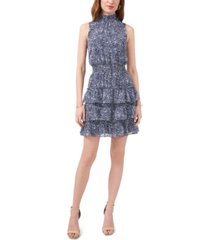 msk petite smocked tiered fit & flare dress
