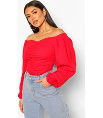 crepe sided off the shoulder top, red