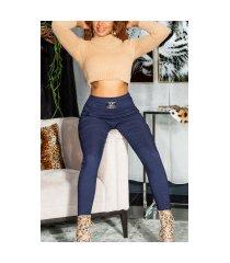sexy skinny broek met decoratieve gesp marineblauw