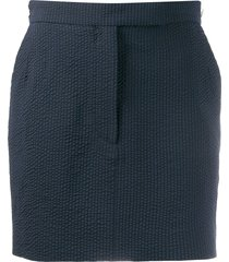 thom browne seersucker straight mini skirt - blue