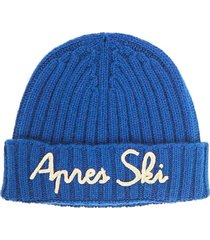 cashmere blended bluette hat with white embroidery