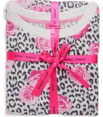 leopard & rose-print 2-piece pajama set