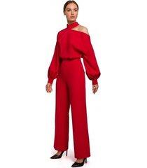 jumpsui moe m528 jumpsuit met bisschopsmouwen - rood