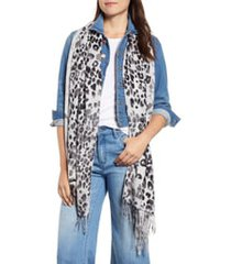 women's nordstrom tissue print wool & cashmere wrap scarf, size one size - brown