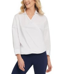 dkny cotton collared wrap top