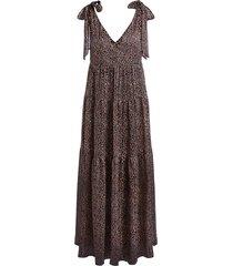 maxi-jurk met giraffe print ilse  zwart