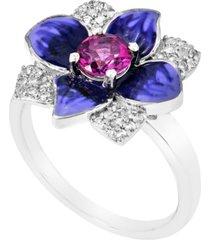 women's topaz flower ring in sterling silver