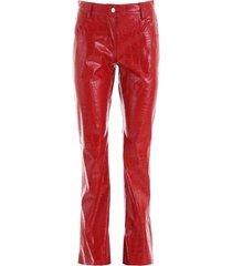 msgm croc-print faux leather trousers